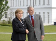 German Chancellor Angela Merkel welcomes US President George W. Bush to a bilateral working lunch in Heiligendamm